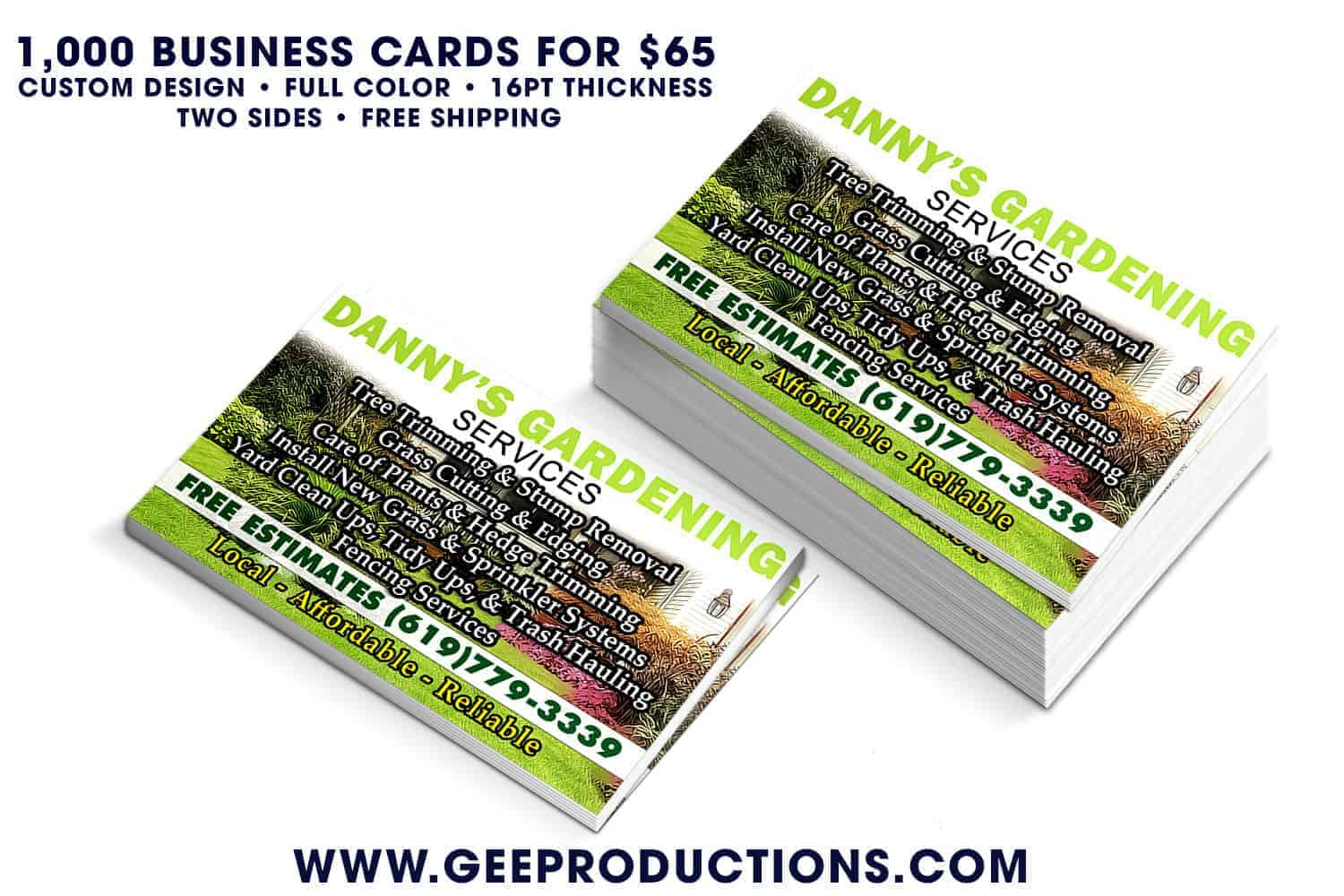 Danny\'s Gardening Services - Business Cards »