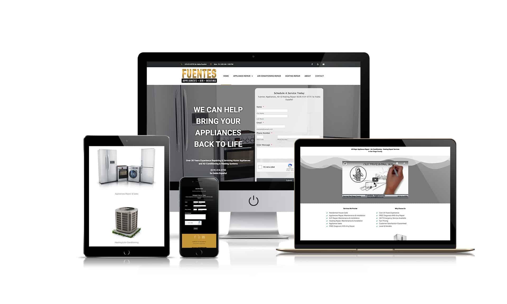 Feuntes Appliances Repair - Website Design