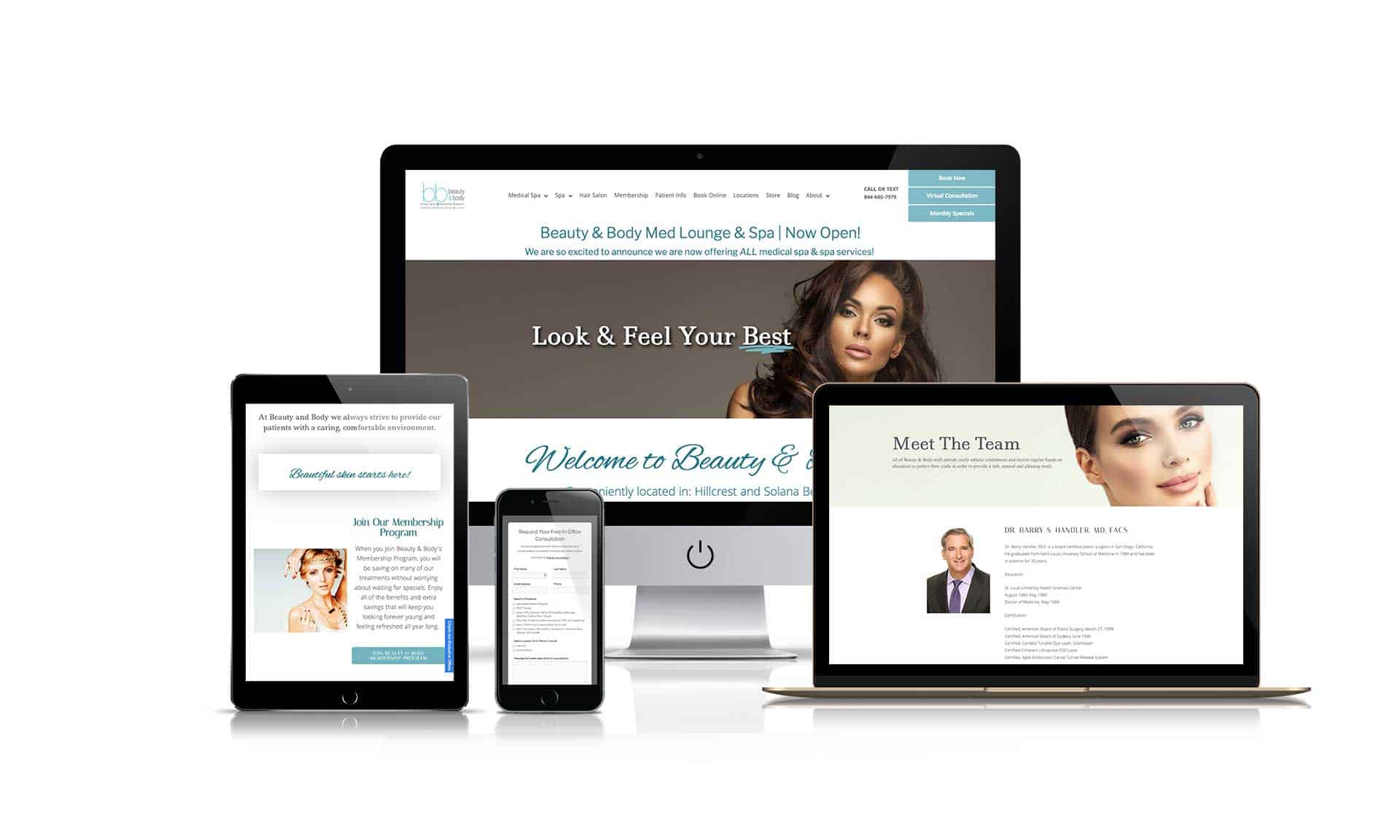 Beauty and Body Medlounge Spa - Website Design - Hillcrest